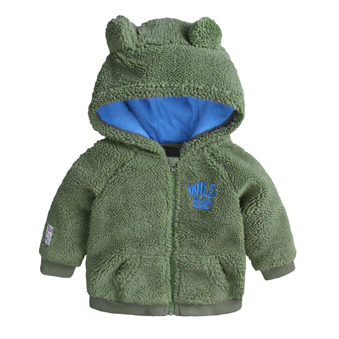 DDLBiz Infant Baby Boys Girl Cartoon Ear Hooded Pullover Tops Warm Clothes Coat (Green, 12M)