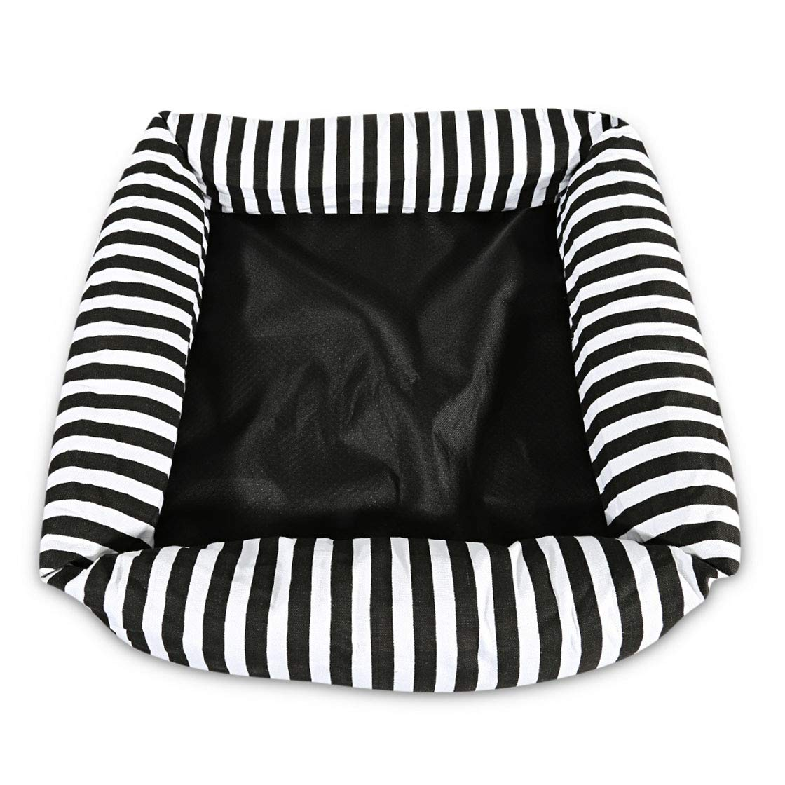 Black 44X44X17CM Black 44X44X17CM Striped Dog Bed Soft Warming Material Back Nest Cat Baskets Fall Winter Warm Pet House