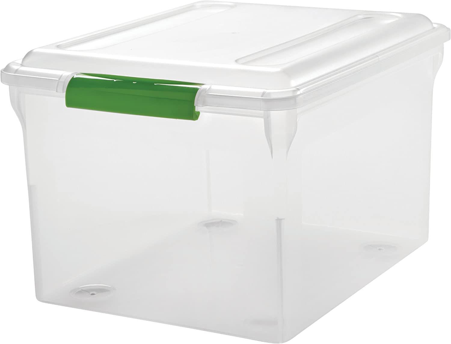 IRIS Store and Slide Letter and Legal Size File Box, 4 Pack, Green Handle, Clear