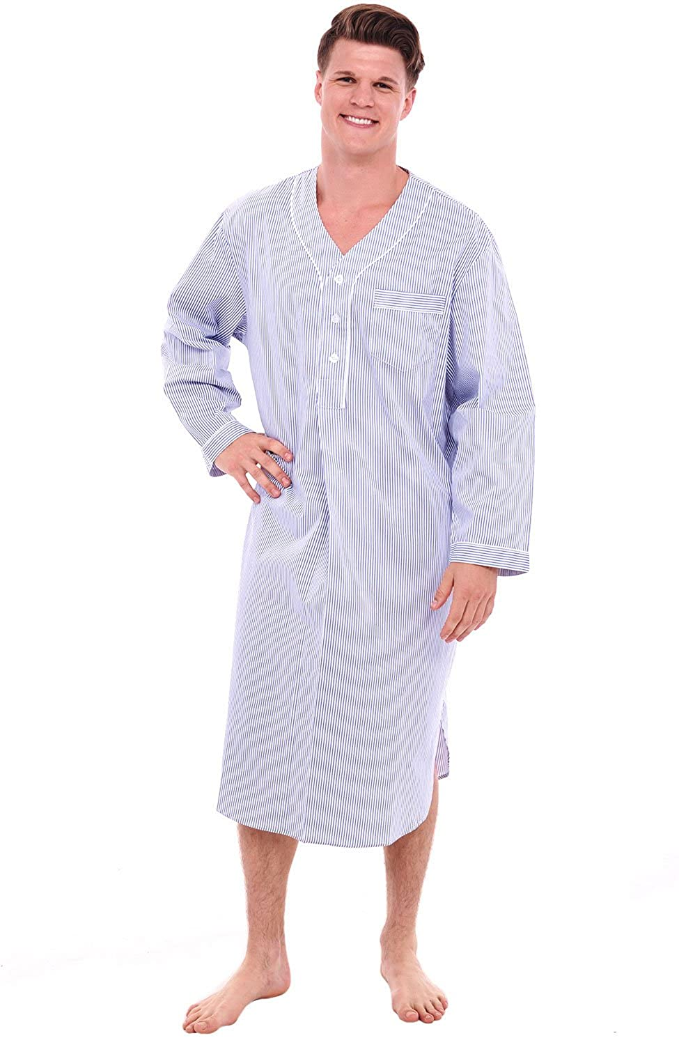 Vintage Inspired Nightgowns, Robes, Pajamas, Baby Dolls Alexander Del Rossa Mens Cotton Nightshirt Long Lightweight Woven Kaftan  AT vintagedancer.com