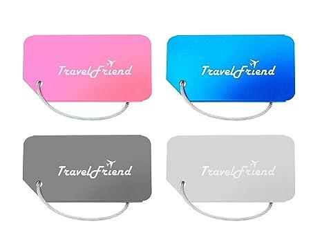 TravelFriend 4 Stück KofferanhängerAdressanhänger für KofferReisegepäck in verschiedenen Farben aus robustem Aluminium Gepäckanhänger mit