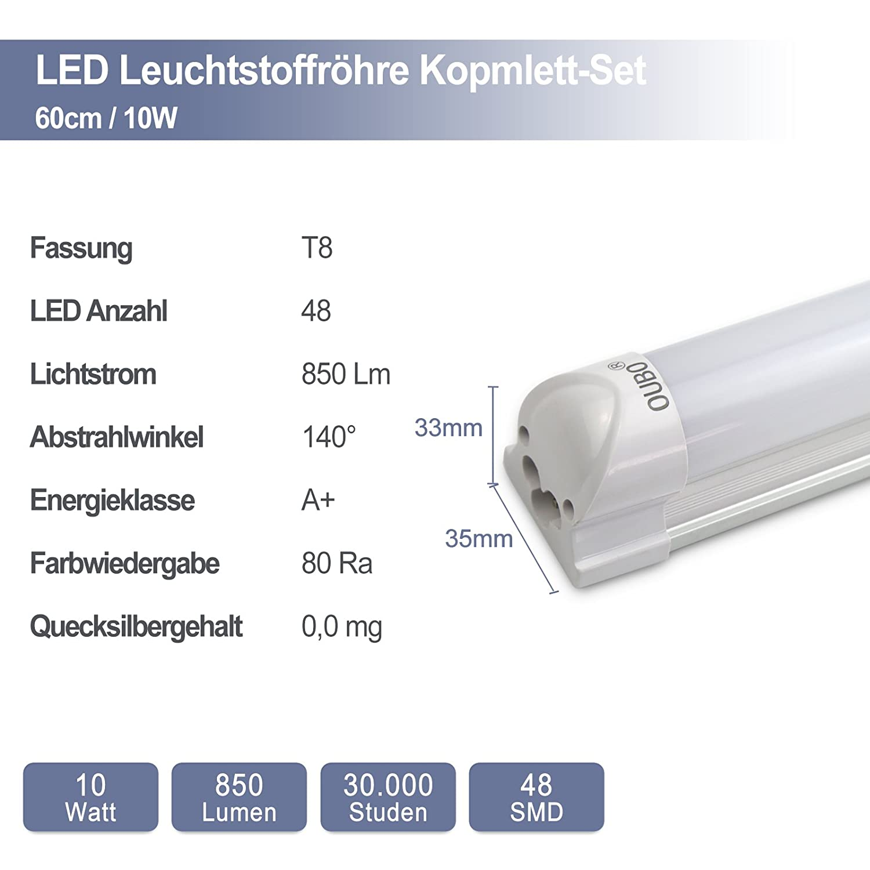 10 Watt Neutralwei/ß 4000K OUBO LED Leuchtstoffr/öhre komplett 60CM LED Tube T8 R/öhre Leuchtstofflampe mit Fassung 1300 Lumen 4er Pack zum Sparpreis