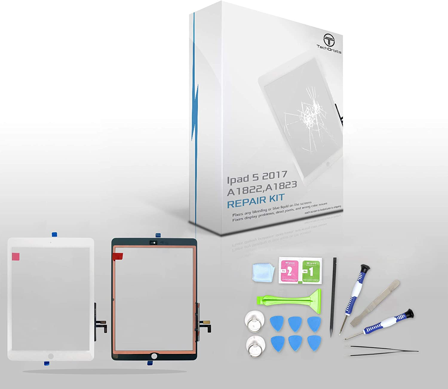 "TechOrbits IPAD 5 2017 (A1822, A1823) Touch Screen Replacement Glass Digitizer 9.7"" with Camera Bracket, Pre-Installed Adhesive, Repair Guide & Tool Kit (White)"
