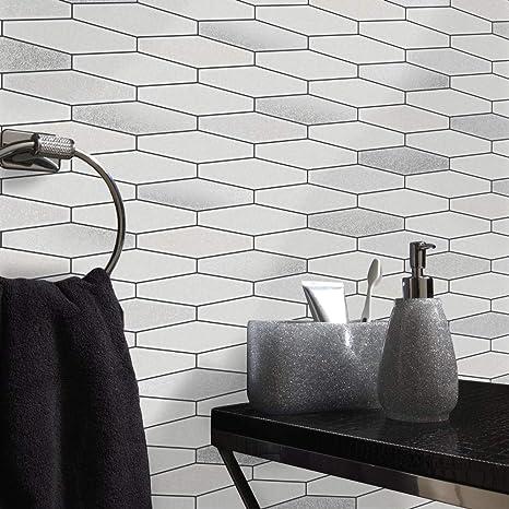 Bianco Glitter per cucina e bagno lavabile in vinile effetto mattoni ...