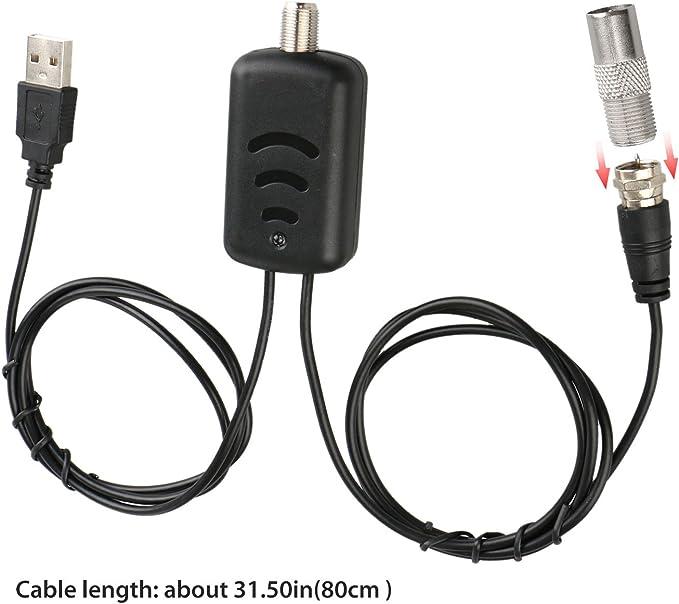 EEEKit Amplificador de Antena HDTV, Amplificador de señal Digital de bajo Ruido satelital con Luces para TV Antena HDTV con Fuente de alimentación USB