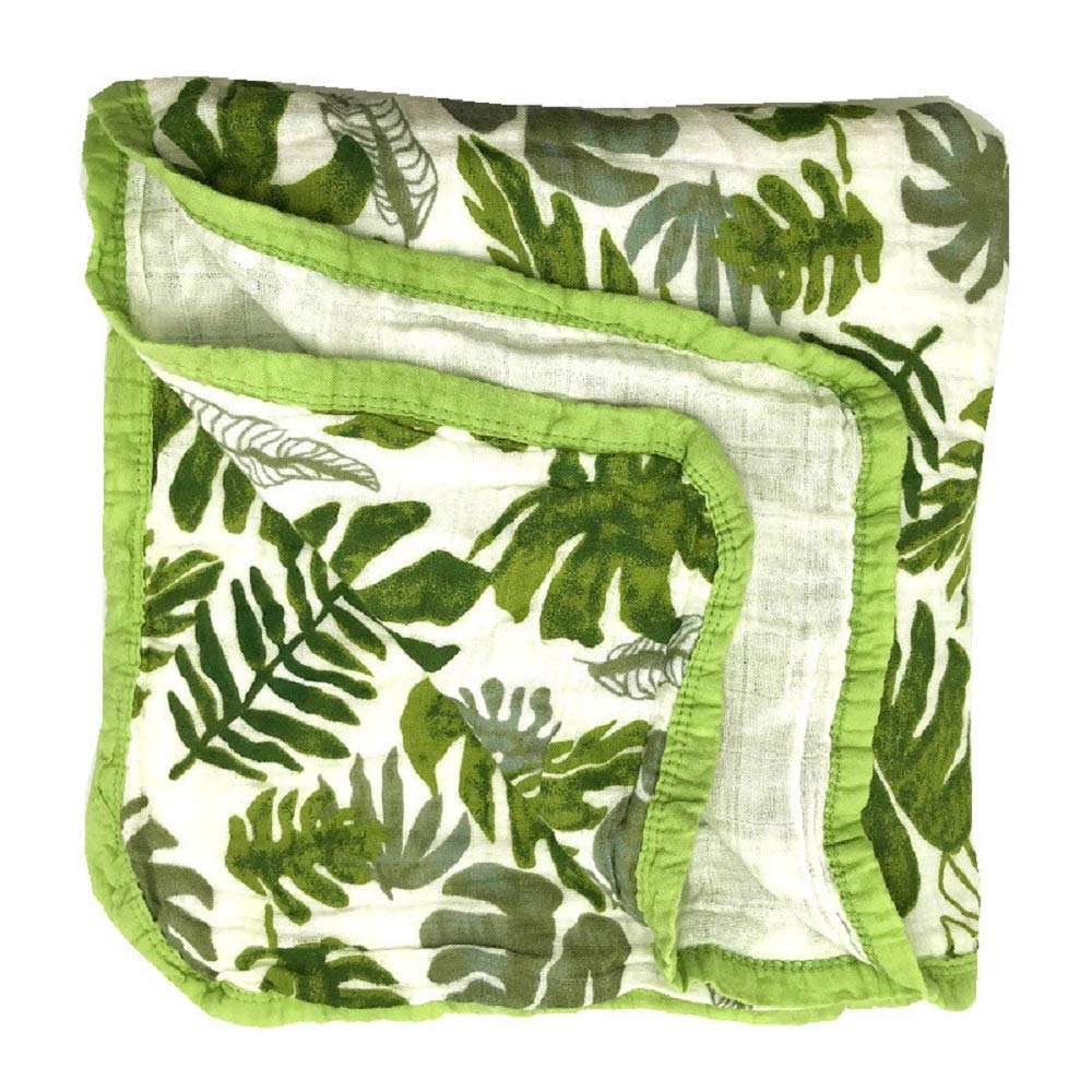 HGHG Bamboo Cotton Muslin Stroller Blanket - 4 Layers Soft Adorable Multi-Colored Nursery&Receiving Blanket