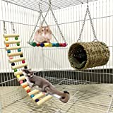 Leeko Pet Hammock Hamster Hanging Toy, Set House Hanging Bed Cage Toys for Small Animal Sugar Glider Squirrel Chinchilla…