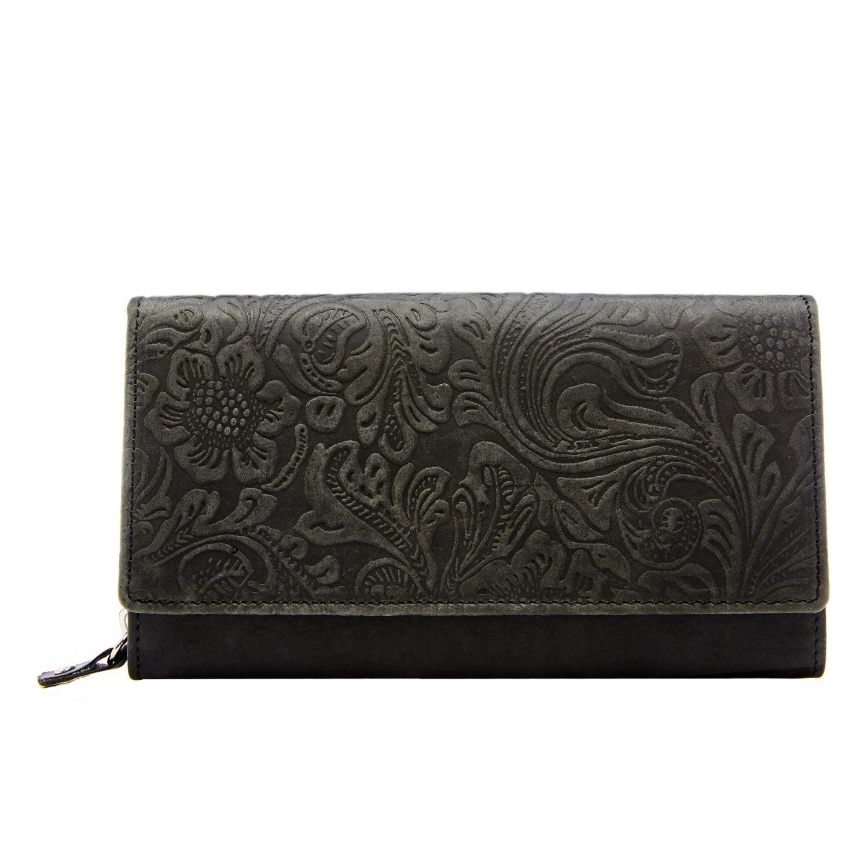 Clutch Wallets For Women RFID Blocking - Floral Leather Accordion Card Organizer