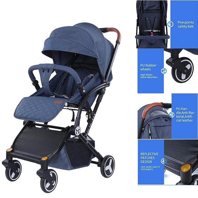Bebé silla de paseo 4 ruedas plegable PushchairNewborn niños PushchairLightweight cochecito con (placa, Cup Holder, venda de muñeca, bolsa) (Azul): ...
