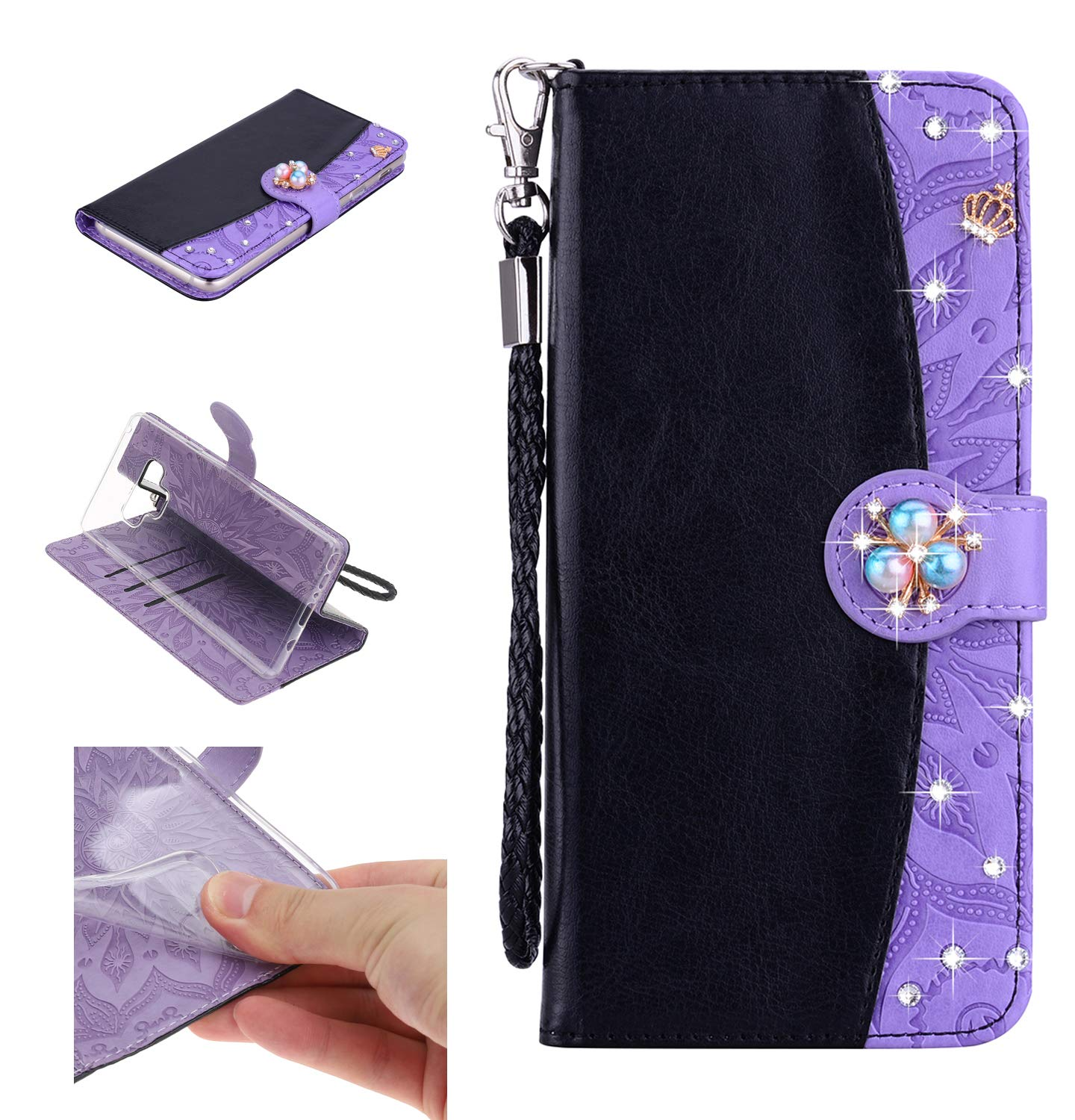 Amocase Strap Wallet Case with 2 in 1 Stylus for Samsung Galaxy Note 9,3D Diamond Crown Color Block Premium Beaded PU Leather Stand Clear Slicone Back Case for Samsung Galaxy Note 9 - Black Purple