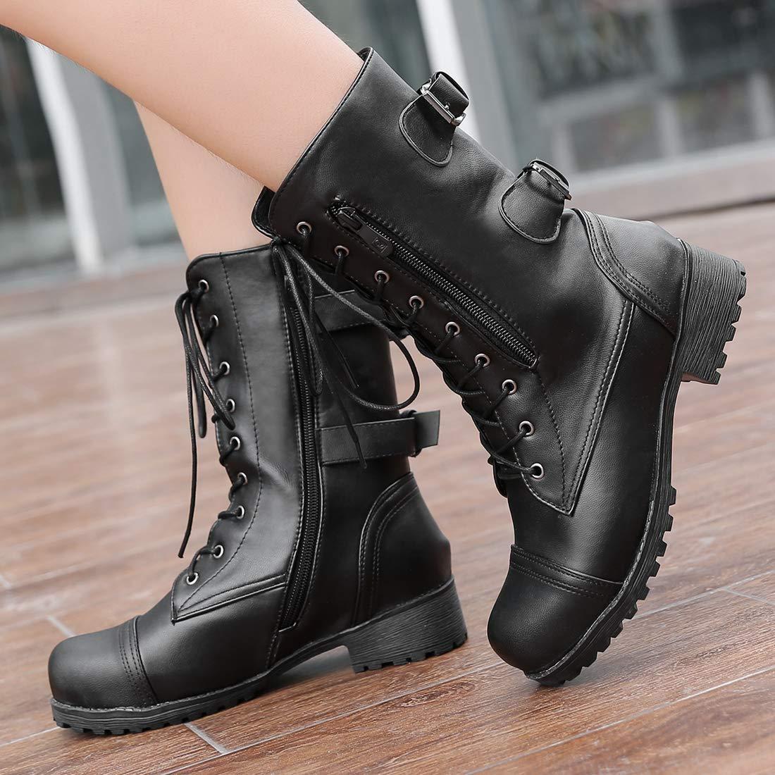 Vitalo Womens Lace Up Mid Calf Military Buckle Combat Biker Boots