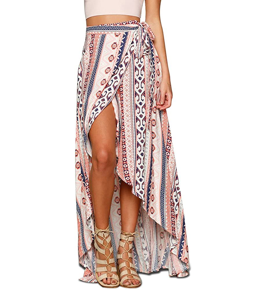 Imixshop Women's High-Waisted Boho Chiffon Maxi Skirt Dress Wrapped Beach Cover up Floral)