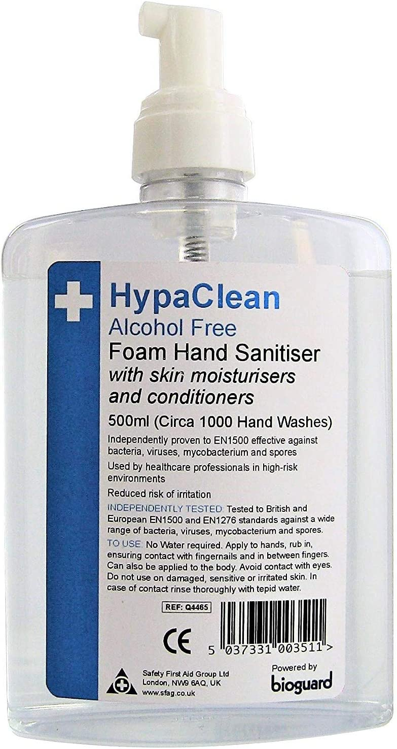 Hypaclean Alcohol Free Foam Hand Sanitiser 500ml Amazon Co Uk