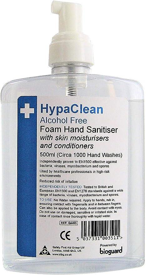 Hypaclean Alcohol Free Foam Hand Sanitiser 500ml Amazon Co Uk