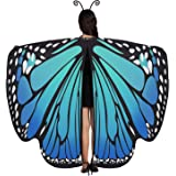 Butterfly Wings Shawl Halloween Cloak with Antenna Headband, Fairy Ladies Cape Nymph Pixie Costume