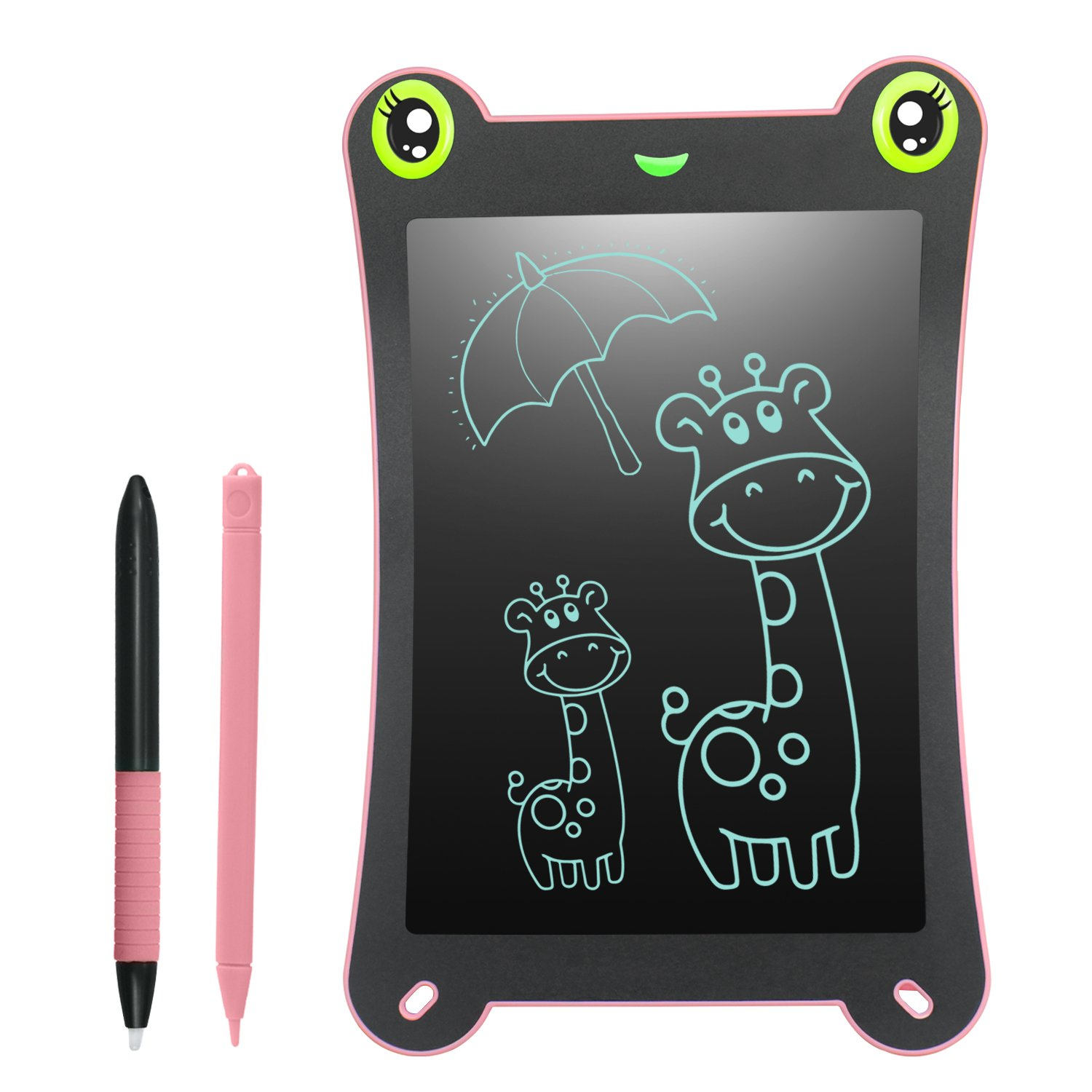LCD Writing Tablet Frog Pad WOBEECO Children Doodle Pad Scribble Game Magnetic Drawing Board Kid's Fun Toy Smart Learning Tool 2 Styluses Included (Pink)