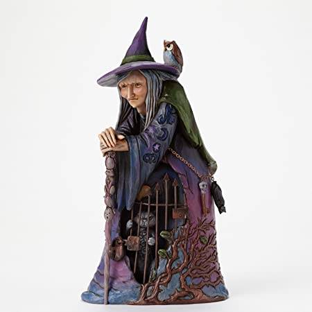 Jim Shore for Enesco Heartwood Creek Witch with Cat Behind Gate Figurine, 9.375