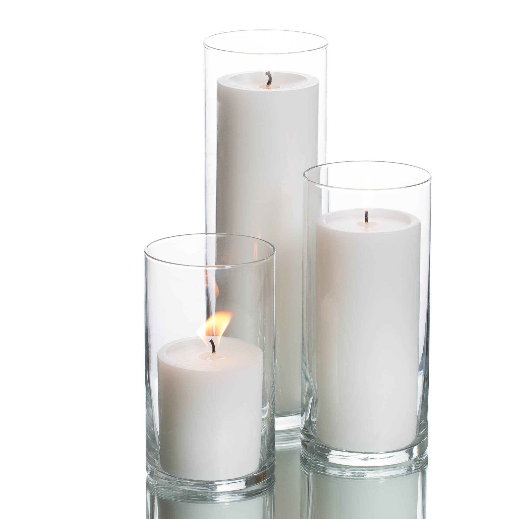 Richland Set of 3 Glass Eastland Cylinder Vases and 3 White Pillar Candles 3'' by Richland