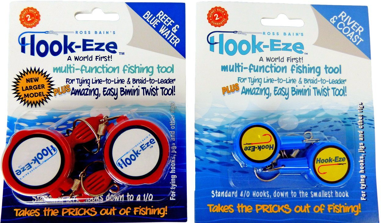 HOOK-EZE 2 x Twin Packs 1 x New Larger Model Reef & Blue Water + 1 x Original River & Coast Safe Fishing Hook Cover & Knot Tying Tool (Lg Red + Blue)