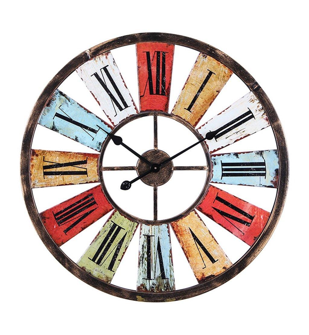 ZHENAI 鉄の壁時計レトロ工業風のバーコーヒーショップの装飾古い色の時計の時計を行うには68センチメートルギフト ( サイズ さいず : 68cm 68 cm ) B07BLZKLCQ68cm 68 cm