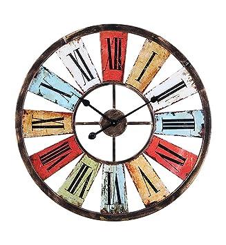 ZHENAI Reloj de pared de hierro Retro Industrial Wind Bar Decoración de la cafetería para hacer el reloj de reloj de color antiguo 68cm Regalos festivos ...