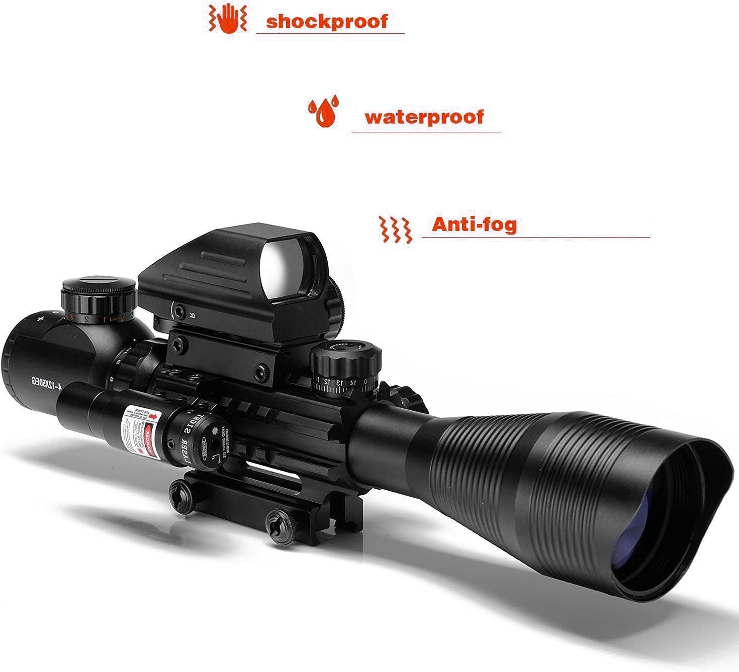 Hunting Rifle Scope Combo C4-12x50EG Dual Illuminated with Laser sight 4 Holographic Reticle Red Green Dot for Weaver Rail Mount