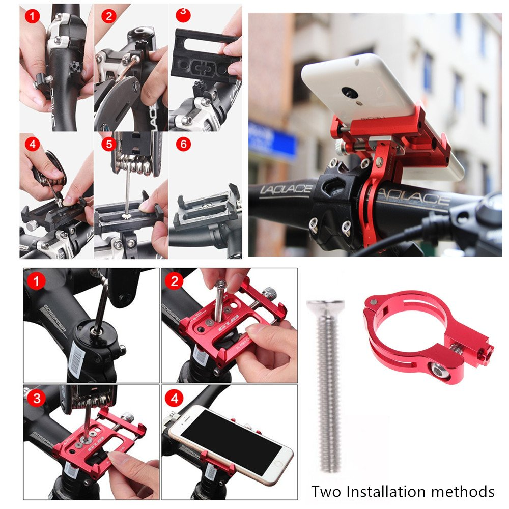 Nexus,HTC,Huawei GUB Universal Bike Phone Mount Bike Holder,Aluminum Alloy Bicycle /& Motorcycle Handlebar Cradle,360 Rotate Adjustable Fit for iPhone 7//6s//6//5s//5c,Samsung S7//S6//S5//Note 5//4//3 black