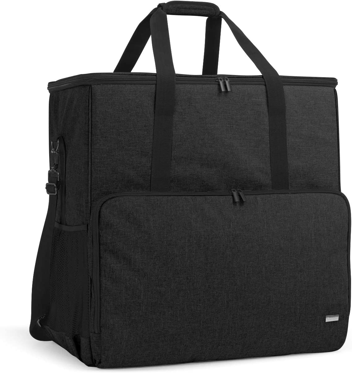 CURMIO Desktop Computer Tower and Monitor Carrying Case,Travel Tote Bag for PC Chassis, Monitor, Keyboard, Cable and Mouse, Earphone, Bag Only, Black
