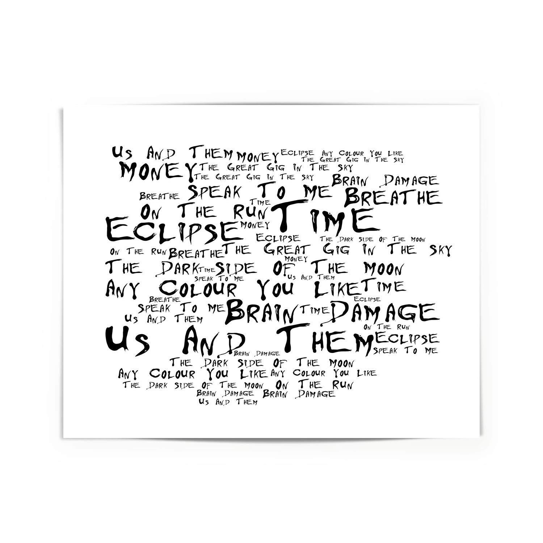 Pink Floyd - The Dark Side of the Moon - Firmada y numerada edición limitada pared arte tipografía Print - Song Lyrics Mini Poster: Amazon.es: Hogar