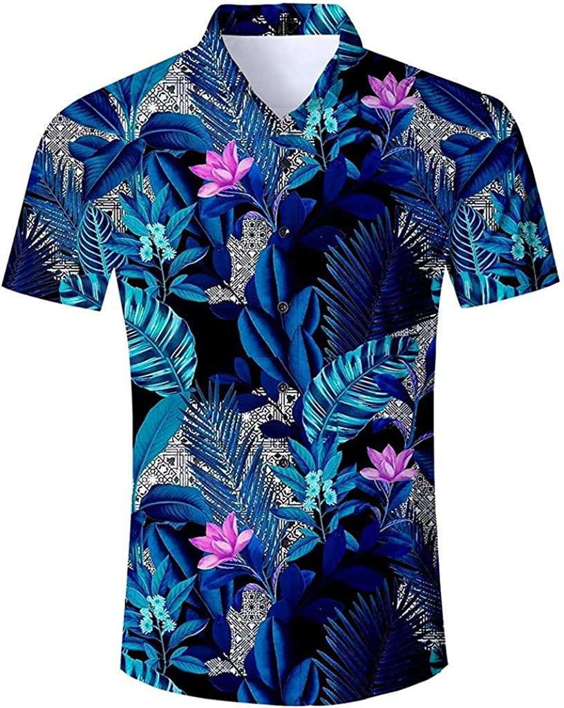 ODRD Herren T-Shirts Fr/ühling Sommer Der Sommer-Neuer Art-Mode-Kokosnuss-Baum-Hawaiianer-Stil der M/änner Kurzarm-Shirts Top Tanktop Bluse Hemden Langarmshirts Tee t Shirts
