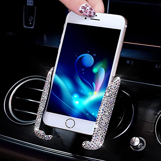 Bling Car Mount Stand Phone Holder, Universal Crystal Rhinestone Cell Phone Holder Mini Car Dash Air Vent 360° Adjustable Auto Phone Mount Car Accessories for Women Girls White