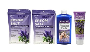 Relief Epsom Salt - Lavender Scented, Natural Magnesium Sulfate Calming & Relaxing Crystals (2
