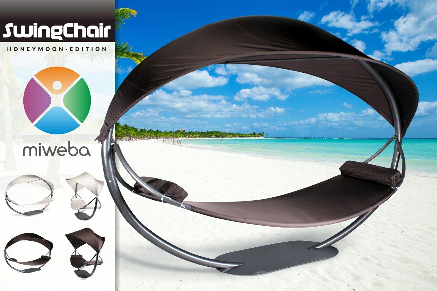 Miweba Swing Chair HONEY MOON Hollywood Schaukel Hängestuhl Liege Sonnenliege (braun)