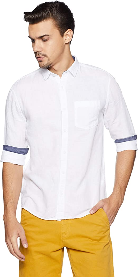 People Men's Plain Slim Fit Casual Shirt Men's Casual Shirts at amazon