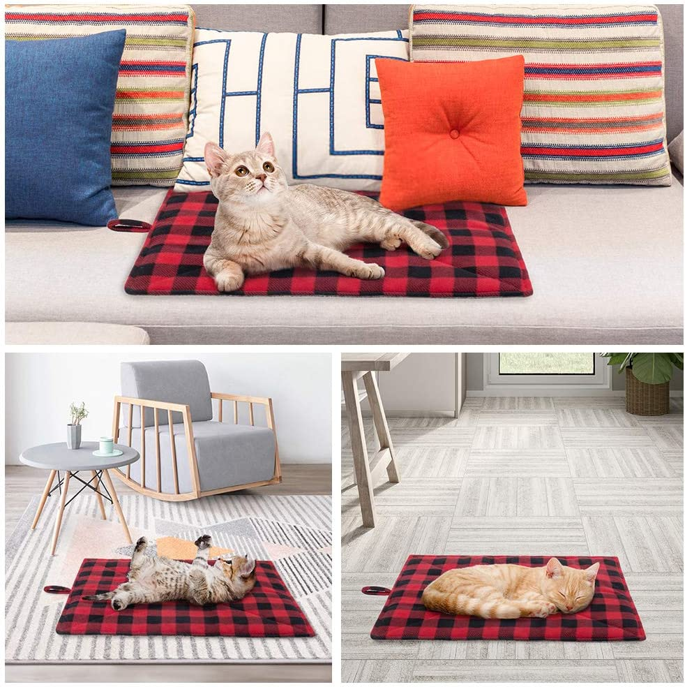 PUPTECK Cat Self Heating Bed Mat - Cozy Self Warming Washable Pet Thermal Pad with Hang Loop, Anti Slip Sleeping Bed for Kitties Puppies Small Animals, Red : Pet Supplies