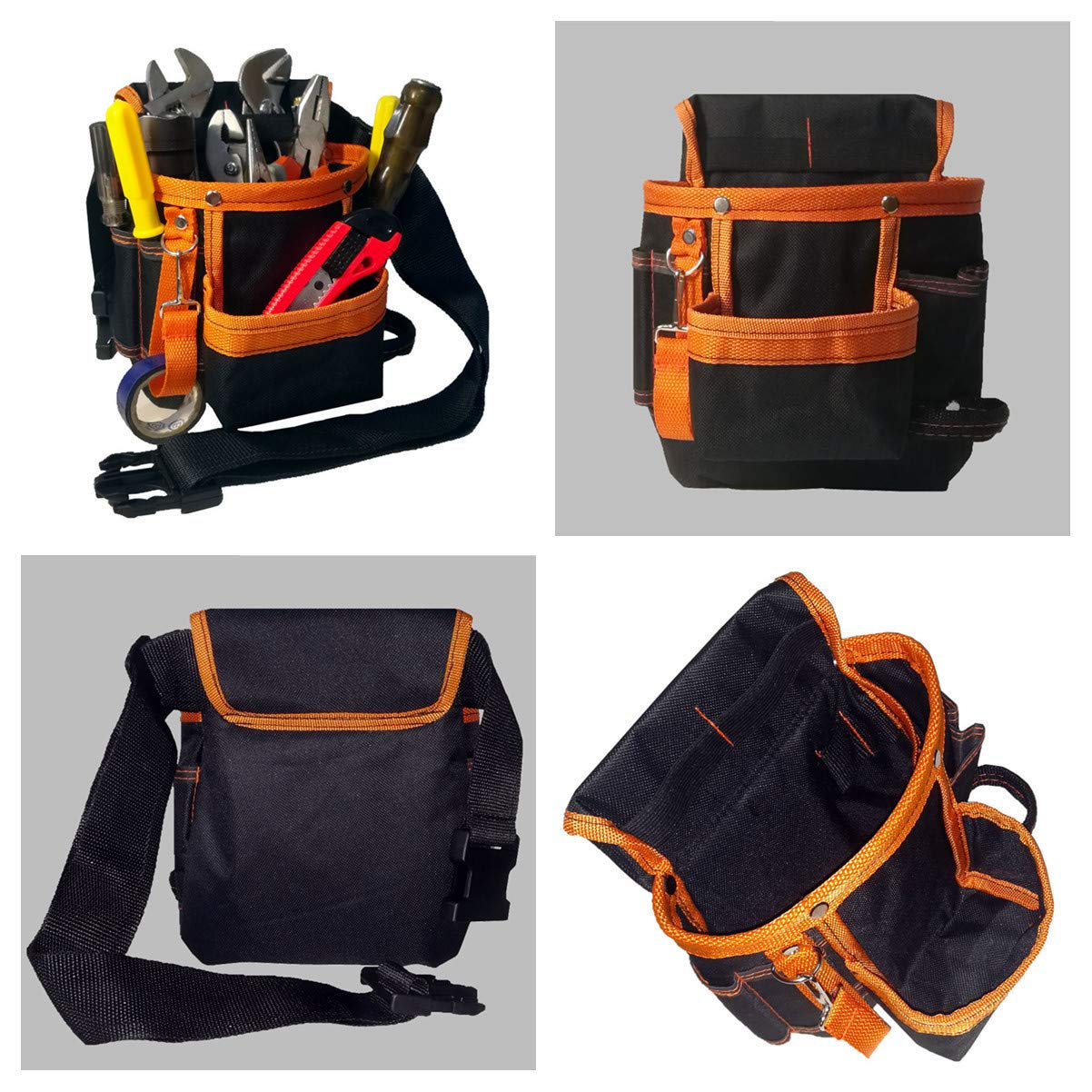 Copechilla bolsa herramientas negro con naranja con cintur/ón ajustada,resistente y profesional,Material lona oxford espesado,13 Bolsillos,para electricistas t/écnicos