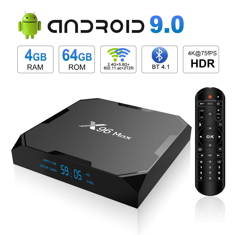 Android 9.0 TV Box, X96 MAX Android TV Box 4GB RAM 64GB ROM Amlogic S905X2 Quad-core Cortex-A53, Dual Band WiFi 2.4G+5G/1000M Ethernet/BT 4.1/USB 3.0/H.265 3D 4K@75fps Smart Media Player OTT Box