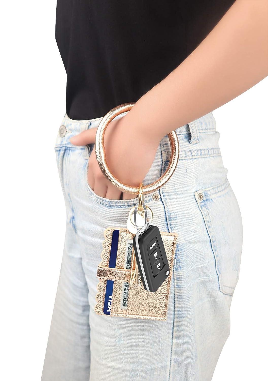 ID Card Holder Purse with PU Leather Tassel Bangle Key Ring for Women Girls KraftyChix Wristlet Bracelet Keychain