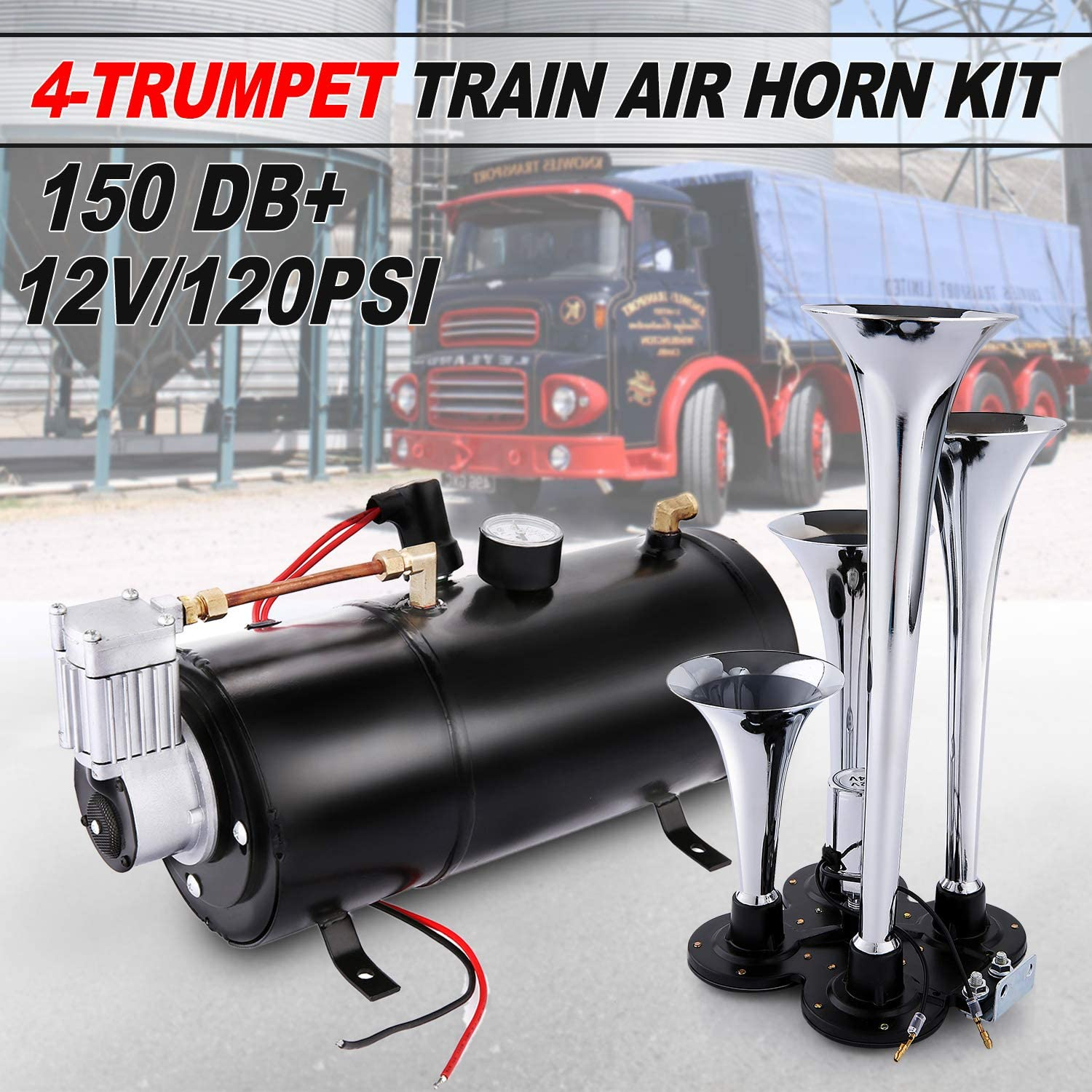 WATERWICH 4 Trumpet Train Air Horn Kit with 150 PSI Air Compressor 1.59 Gal Air Tank Super Loud 150DB for Vehicle Truck Lorry Boat Car Van SUV Jeep