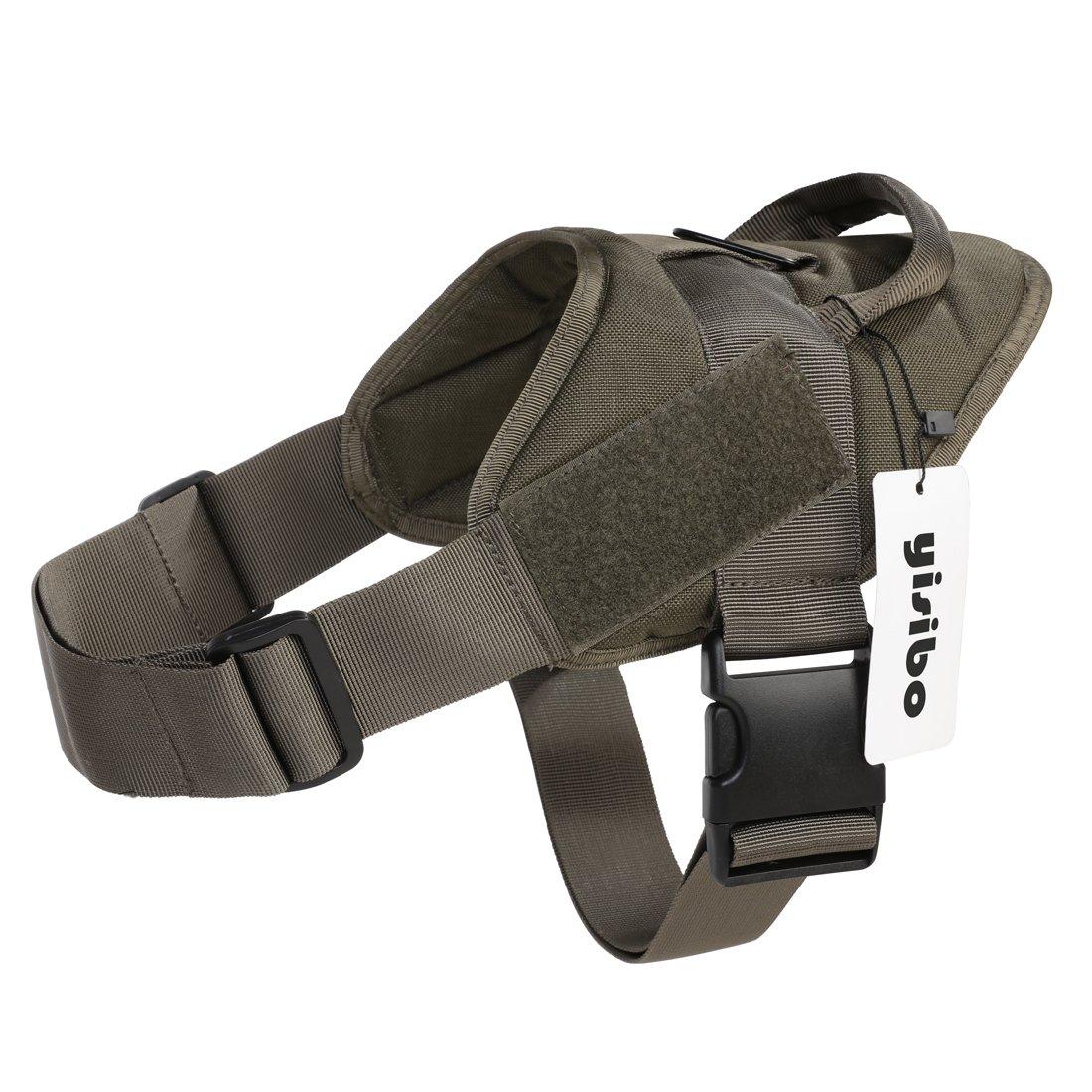 Ranger Green Large(27\ Ranger Green Large(27\ Yisibo Tactical K9 Dog Training Vest Nylon Adjustable Service Police Patrol Molle Harness W  Dog Vest Packs Velcro Vest for Largr Small Dog Pet (L, Ranger Green)