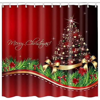 Broshan Christmas Tree Shower Curtain Sets Merry Christmas Shining Santa Tree Print Waterproof Polyester Fabric Decor Bathroom Curtains