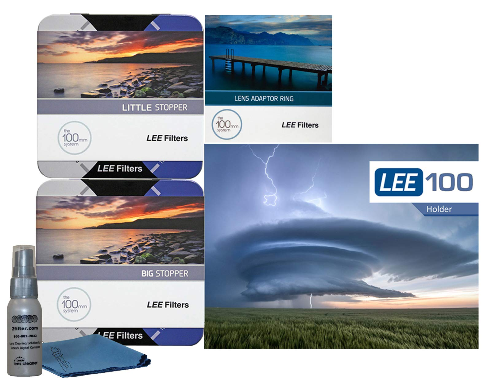 LEE Filters LEE100 82mm Premium Long Exposure Kit - Lee Filters LEE100 Filter Holder, LEE 100mm Big and Little Stopper, 82mm Wide Angle Adapter Ring by Lee Filters