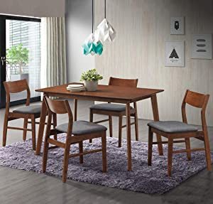 Dporticus 5-Piece Kitchen & Dining Sets Wooden Kitchen Table and Chairs with Natural Oak, Brown