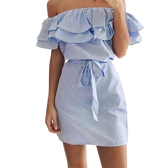 Weant Abiti Corti Donna Abito Vestito Donna Gonna Corta Elegante Abito  Spalla Nuda Balze Vita Dress ed65e064b59