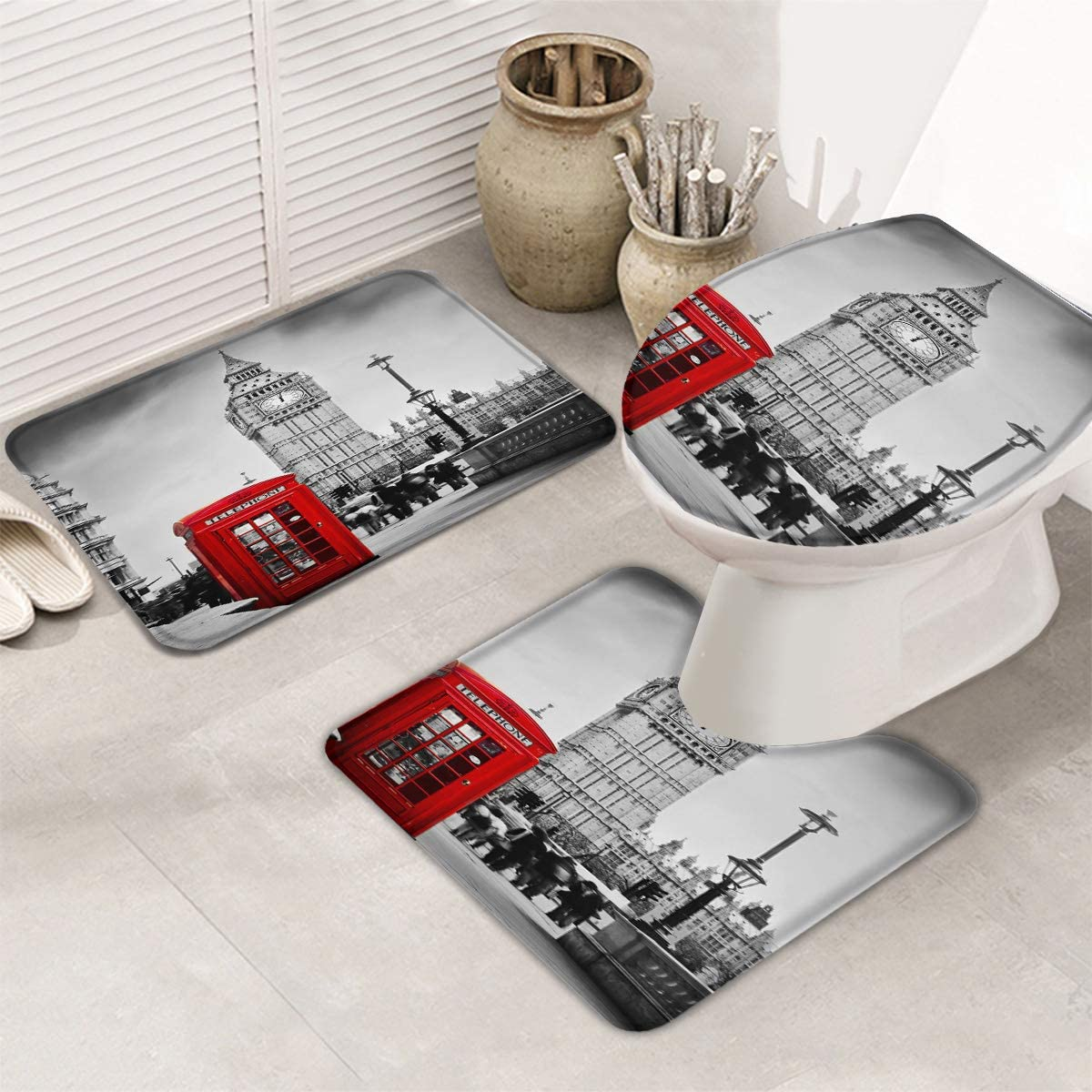 Women Trend 3 Piece Bath Rugs Set Non-Slip Bathroom Mats Absorbent Contour Soft Mat Toilet Lid Cover Bathroom Decor Set- Big Ben and Red Phone Booth in London 18
