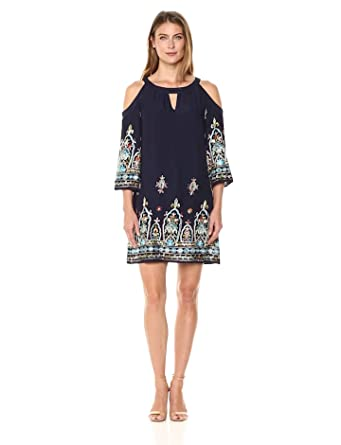 9aa9c212f2 Sangria Women s Embroidered Cold Shoulder Shift at Amazon Women s ...