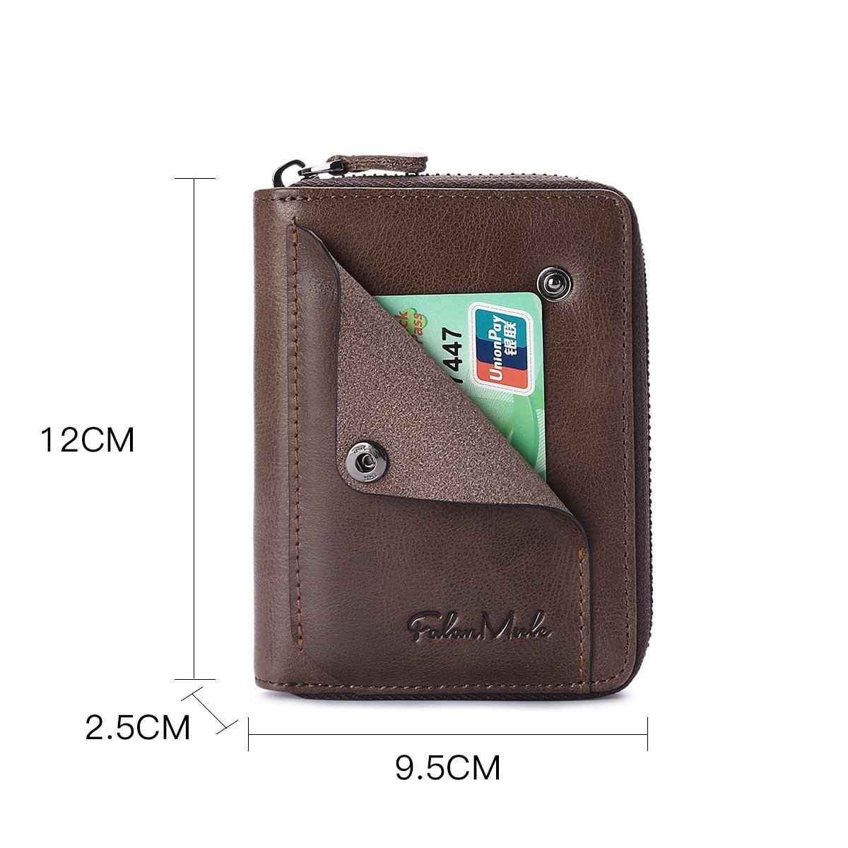 Slim Bifold RFID Blocking Men Wallet Leather Front Pocket Compact Design Zipper Closure Minimalist by Falan Mule (Image #3)