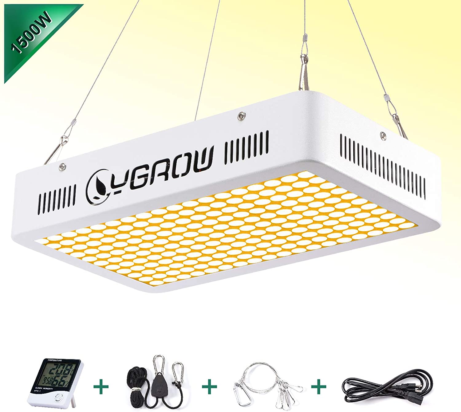 YGROW 1500W LED Grow Light Full Spectrum Grow Lamp with Daisy Chained Design, Reflector-Series Plant Grow Lights for Indoor Plants Veg and Flower