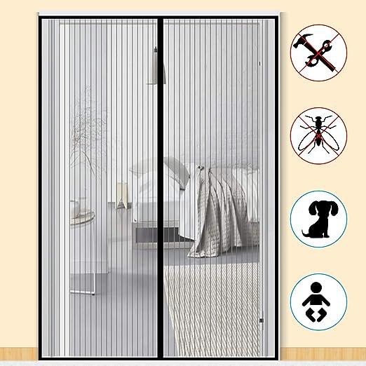 noir Zalava Moustiquaire de porte moustiquaire magn/étique rideau moustiquaire pour porte de balcon porte de salon porte de terrasse 100x210cm//110x220cm//120x240cm//160x230cm//Colle sans per/çage