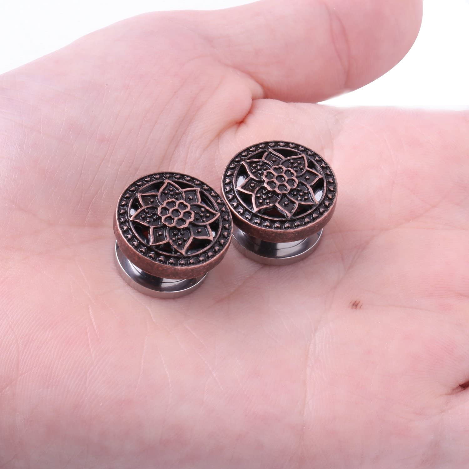 2 Pieces BodyJ4You Screw Fit Plugs Stainless Steel Tribal Lotus 4G-16mm